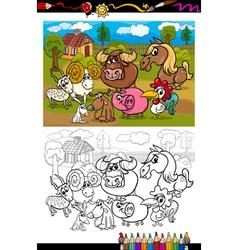 Cartoon farm animals for coloring book vector