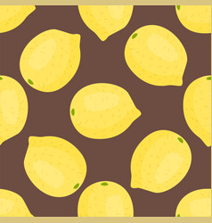 cartoon fresh lemon fruits in flat style seamless vector image