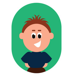 Cartoon funny boy with black eyes rolled down is vector