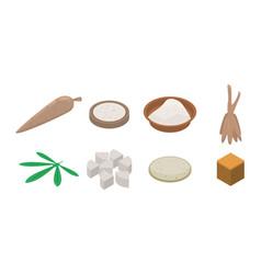Cassava icons set isometric style vector