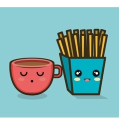 character cup and fries design vector image