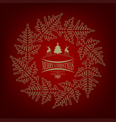Christmas red design with christmas tree and deers vector
