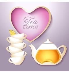 Cof tea and teapot vector