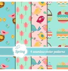 Collection of seamless patterns with stylized cute vector image