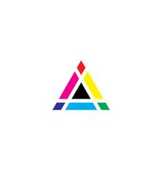 Color mixing triangle icon print logo design vector