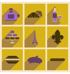 Concept of flat icons with long shadow Paris vector