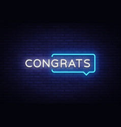 congrats neon text congrats neon sign vector image