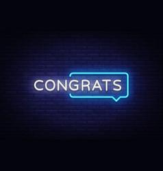 Congrats neon text neon sign vector