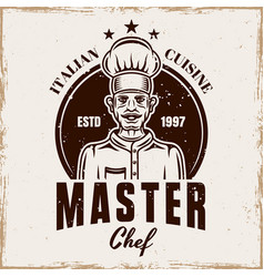 cooking emblem badge or logo with chef vector image