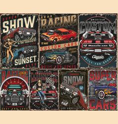 Custom cars vintage posters set vector