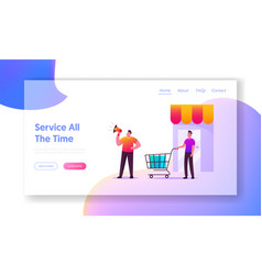 Customer journey landing page template alert vector
