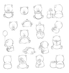 cute cartoon bears vector image