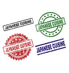 damaged textured japanese cuisine stamp seals vector image