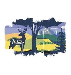 Deer in forest vector