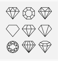 diamond line gem icon crystal value vector image