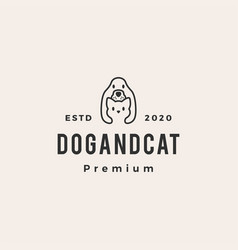dog cat pet house hipster vintage logo icon vector image
