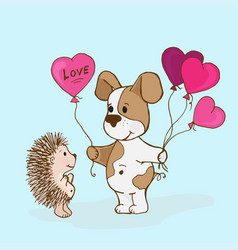 doodle doggy with balls giv hedgehog vector image