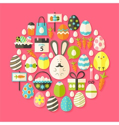Easter holiday Flat Icons Set circular shaped with vector image