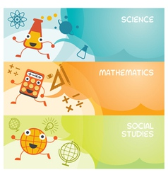 Education Characters Banner Science Math Social vector image
