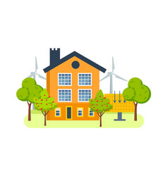 Farm house with windmills solar energy generators vector