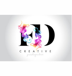 Fd vibrant creative leter logo design vector
