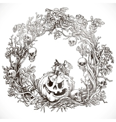 Festive decorative Halloween wreath vector