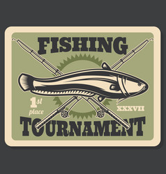 fishing tournament fish and rods poster vector image