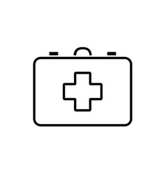 Flat line first aid kit icon vector