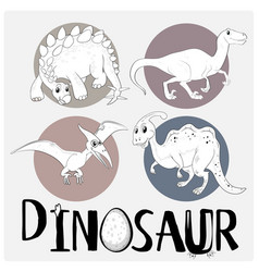 Four types of dinosaurs on white poster vector