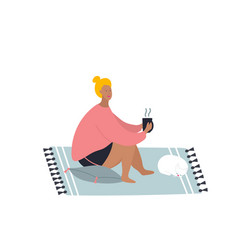 Girl at home with cat flat vector