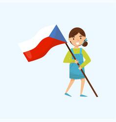 Girl holding national flag of czech republic vector