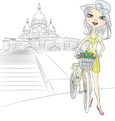 girl with bike in Paris vector image