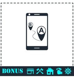 GPS phone icon flat vector image