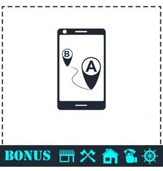 GPS phone icon flat vector