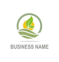 green leaf organic farm company logo vector image