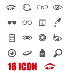 Grey optometry icon set vector
