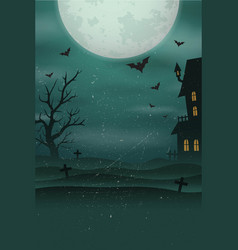 halloween poster background foggy landscape of vector image