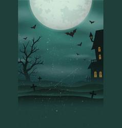 Halloween poster background foggy landscape vector