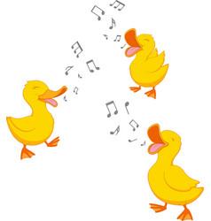 Happy duck singing vector