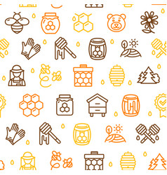 honey signs seamless pattern background on a white vector image