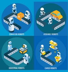 industrial robotics isometric poster set vector image