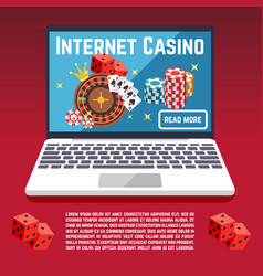 Internet casino page template with dice poker vector