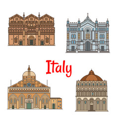 italian travel landmark thin line icon set design vector image