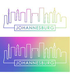 Johannesburg skyline colorful linear style vector