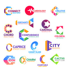 letter c corporate identity business icons vector image