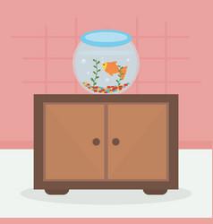 Little fish in aquarium mascot vector