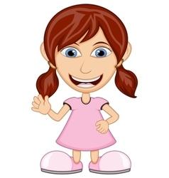 Little girl wearing a pink dress cartoon vector image