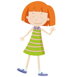 Little girl with happy face waving vector