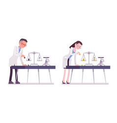 male and female scientist weight measuring vector image
