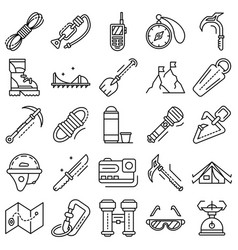 Mountaineering equipment icon set outline style vector
